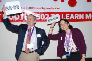 Terry Rhodes and Helen Chen holding signs at 2013 AAEEBL conference
