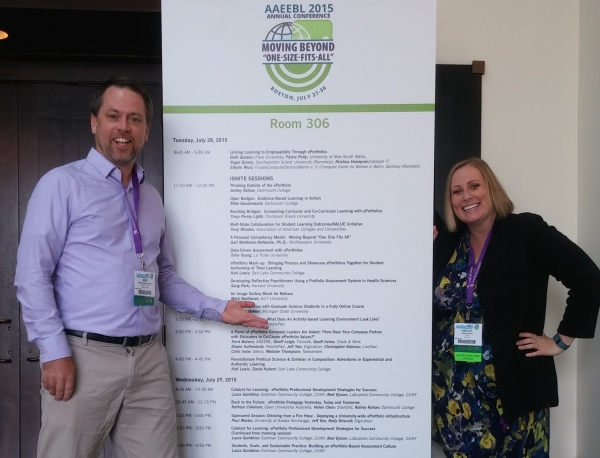 Mike Goudzwaard and Ashley Kehoe, Instructional Designers attended the 2015 Association for Authentic Experiential Evidence Based Learning (AAEEBL) conference and had the opportunity to kick off the conference by giving 2 consecutive Ignite Talks.