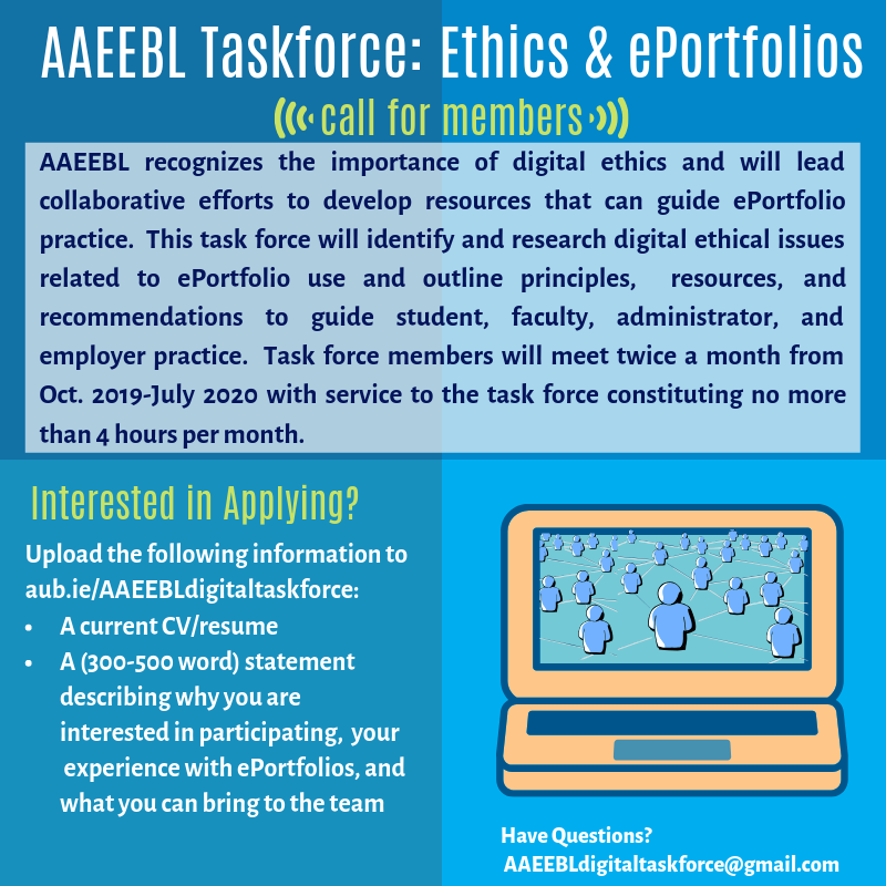 AAEEBL Taskforce - Ethics and ePortfolios - call for members banner - description follows this image